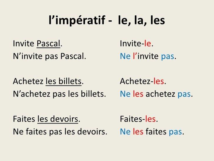 L'Impératif Et Les Pronoms 2ºESO